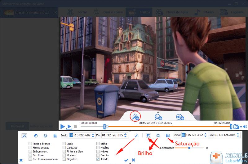 editar as configuração de efeito