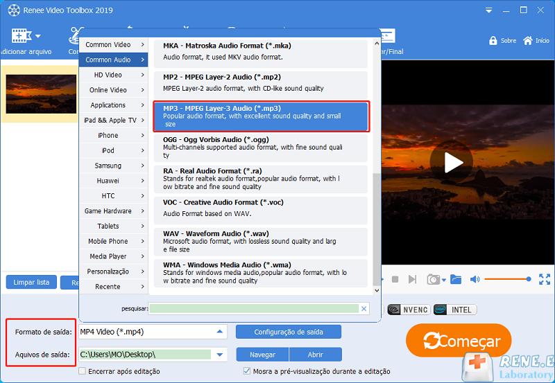 extrair áudio de vídeo