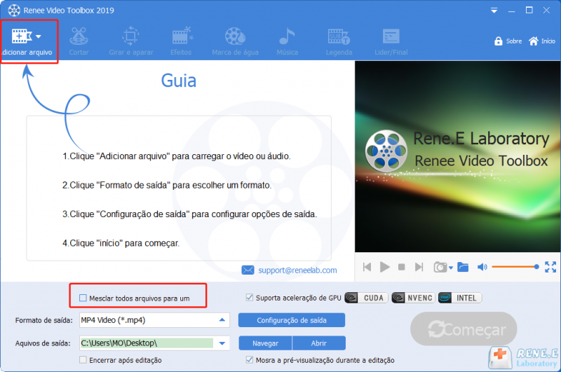Adicionar vídeos e marque mesclar vídeos por um