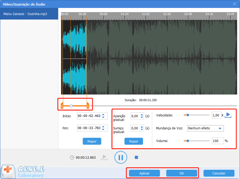 cortar música alterando alguns parâmetros